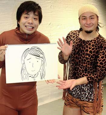 自分で描いた妻の似顔絵を手に結婚を公表したバンビーノの藤田裕樹(左)と、相方の石山大輔