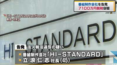『モニタリング』制作会社『ハイスタンダード』を起訴したことが報道された際のキャプチャ1