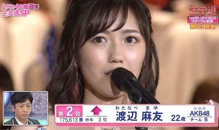第8回選抜総選挙で2位だったAKB48の渡辺麻友