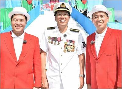 「オール芸人お笑い謝肉祭'16秋」MCのとんねるず石橋(中央)と、サブMCのタカアンドトシ。