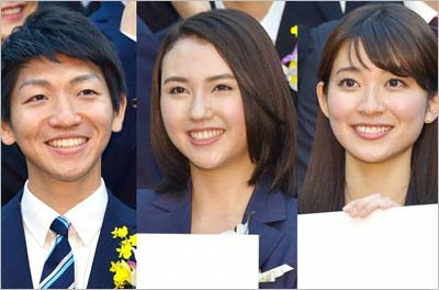 TBS入社の喜入友浩アナ、山形純菜アナ、山本里菜アナ
