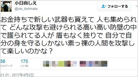 ココリコ・田中直樹の妻・小日向しえツイッターへの投稿8枚目