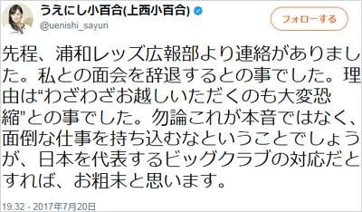 上西小百合議員の浦和レッズに関するツイート4枚目