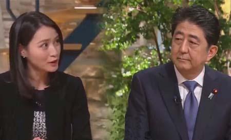 小川彩佳アナ&安倍晋三首相