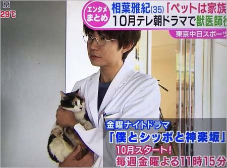 『僕とシッポと神楽坂』で主演、猫を抱く相葉雅紀