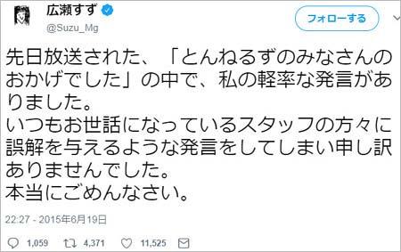 食わず嫌い王・広瀬すずのスタッフ軽視発言で謝罪ツイート