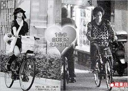 五十嵐麻朝と深田恭子の自転車共用