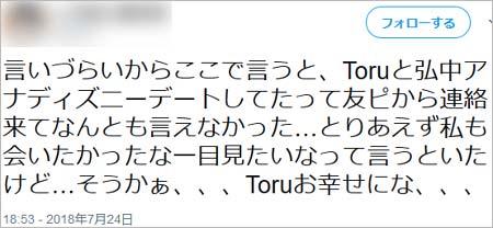 弘中綾香アナとToruのディズニーデート情報