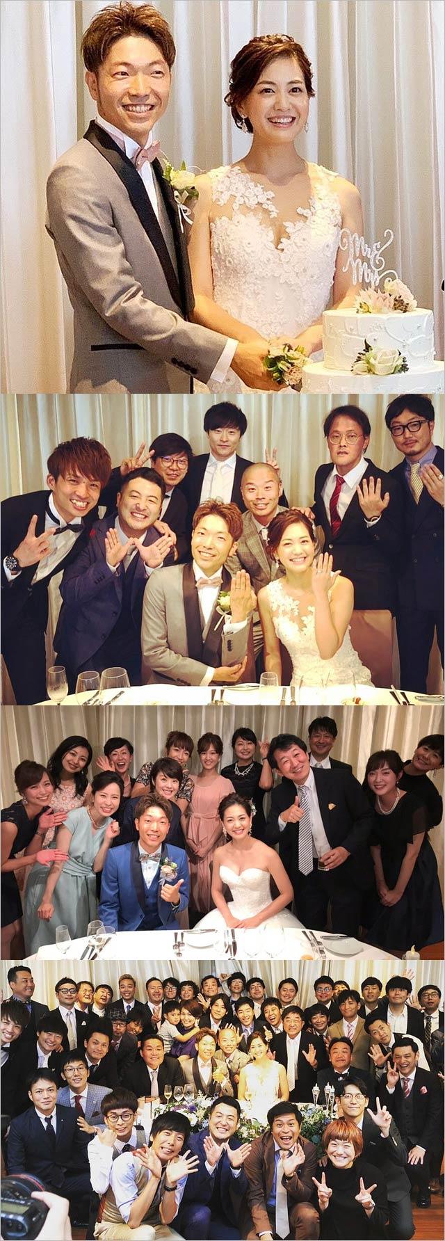アキナ秋山賢太&塚本麻里衣アナ結婚式画像