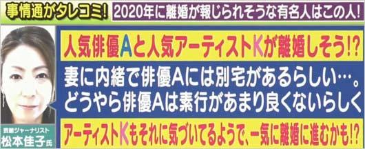 アッコにおまかせイニシャルトーク【離婚危機説の人気俳優Aと人気アーティストK】