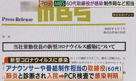 MBS毎日放送の取締役男性が新型コロナウイルス感染報道