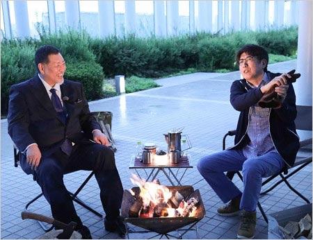 『薪を焚べる』出演の清原和博と石橋貴明