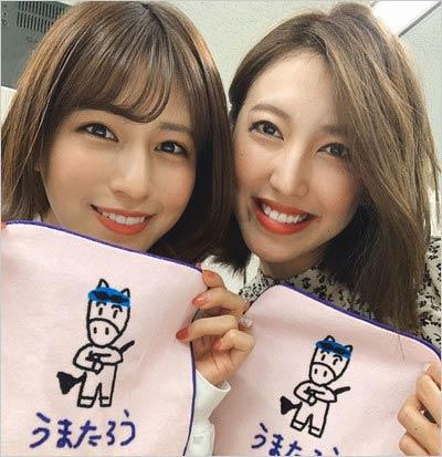 堤礼実アナと小澤陽子アナの2ショット写真