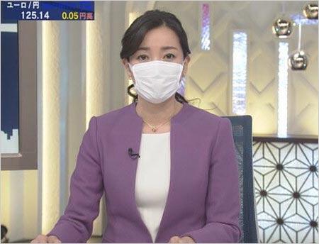 『ワールドビジネスサテライト(WBS)』大江麻理子アナがマスク着用時の姿