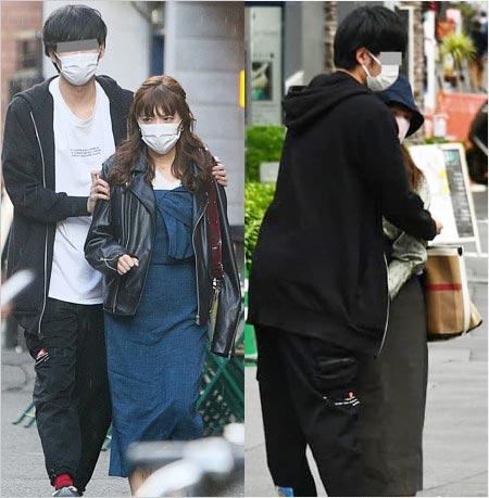 フライデーの三谷紬アナと彼氏が抱き合う画像