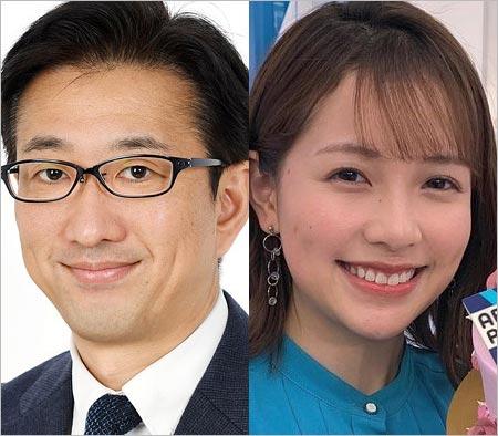 小木逸平アナと渡辺瑠海アナウンサー